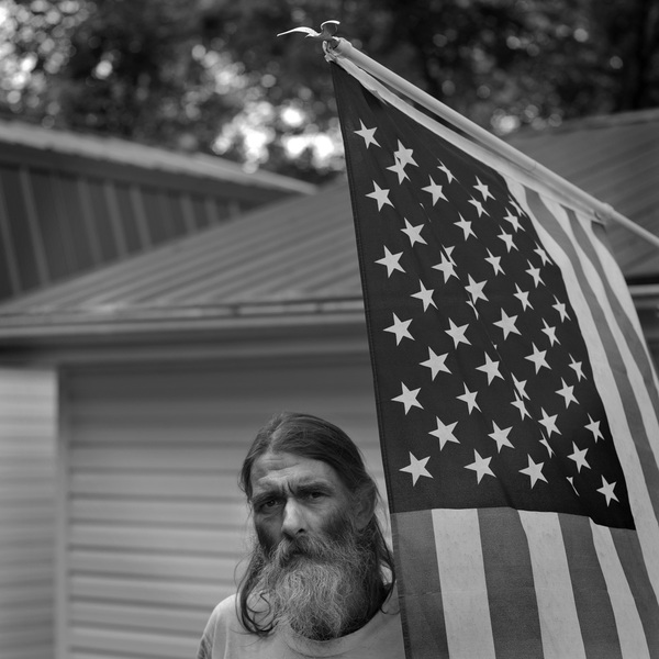 Robbie with Flag, Perry County, Kentucky, 2014